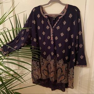 NWOT Lucky Brand Navy & Tan Leafy Boho Peasant Top